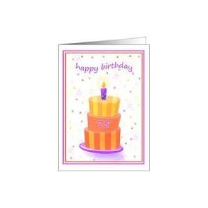 75 Years Old Happy Birthday Stacked Cake Lit Candle Card