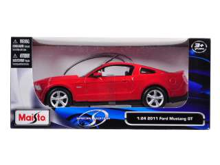 Brand new 124 scale diecast model car of 2011 Ford Mustang GT Red