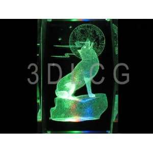 Wolf with Full Moon 3D Laser Etched Crystal A1 Everything
