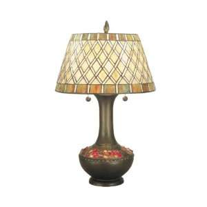 Dale Tiffany TT60499 Winona Table Lamp, Antique Brass and