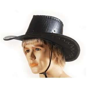 Black Leatherette Cowboy Hat   Loftus