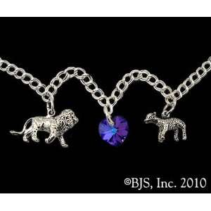Sterling Silver Lion, Lamb & Heart Charm Bracelet   Midnight Blue