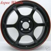 16 ROTA BOOST WHEELS 4X100 RIM 40MM FLAT BLACK RED LIP