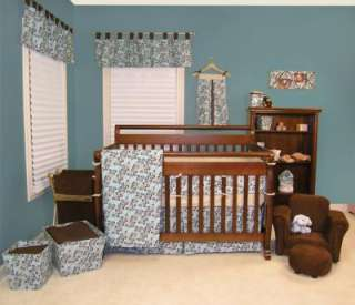 WILLOW TEAL TREND LAB 4PC BLUE BROWN BOY NURSERY INFANT BABY CRIB