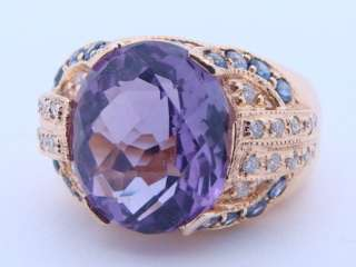 Ladies 14K Yellow Gold Amethyst Diamond & Sapphire Ring