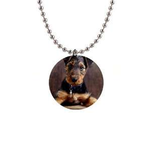 Airedale Terrier Puppy Dog Button Necklace B0003