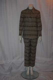 ANNE KLEIN Women Native American Style Vtg 70s SUIT 10