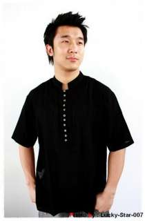 MENS CASUAL COTTON SHIRT MANDARIN COLLAR BLACK M   L