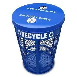 48 Gallon Expanded Metal Recycling Receptacle Heavy Duty Parks and Rec