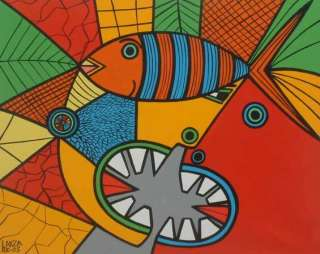 TOTEM for FISHING~~Orig Naif Painting~~Brazil Fine Art