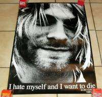 KURT COBAIN *NIRVANA* POSTER 24X34 *I HATE MYSELF AND WANT TO DIE* D