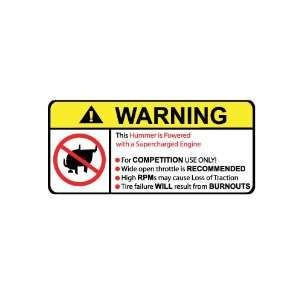 Hummer Supercharged V8 No Bull, Warning decal, sticker