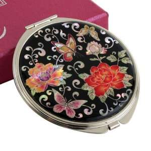 Mother of Pearl Red Peony Flower Design Double Compact