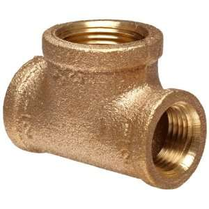 Anderson Metals Brass Threaded Pipe Fitting, Reducing Tee, 3/8 x 3/8