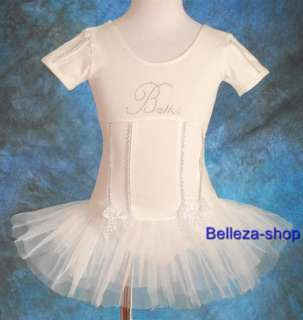 Girls White Ballet Tutu Dance Dress Leotard SZ 3 4T W12