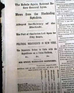 1861 Civil War Newspaper Battle of ATHENS MO Missouri & Post Bull Run