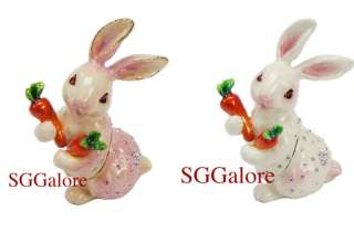 Crystal BeJeweled RABBIT BUNNY HARE Trinket Jewelry BOX Easter