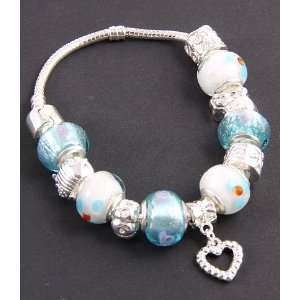 Jewelry Desinger Murano Glass Bead Bracelet with Pattern Light Blue