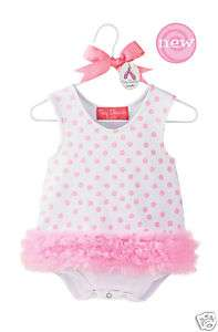 Mud Pie Baby Girl Clothes POLKA DOT SHIFT ONESIE New