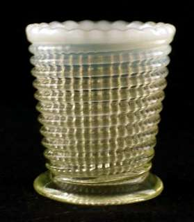 Vaseline opalescent RIBBED SPIRAL toothpick holder EAPG