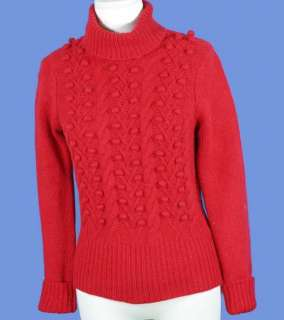 NEW Sutton Studio Ladies Red Popcorn Ball Cashmere Cable Knit Sweater