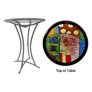 Childhood Memories Fused Glass Metal Table Kitchen