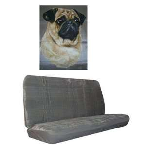 Car Truck SUV Pug Dog Print Rear Bench or Small Truck Seat Covers Grey