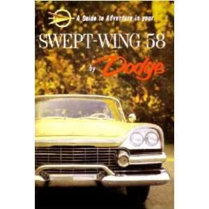 1958 DODGE SWEPT WING Owners Manual User Guide Automotive