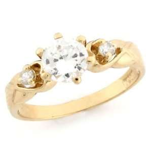 14k Solid Yellow Gold CZ Promise Ring Jewelry