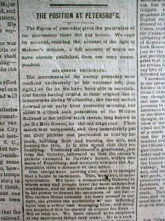 1864 Confederate Civil War newspaper BATTLE of PETERSBURG Virginia LEE
