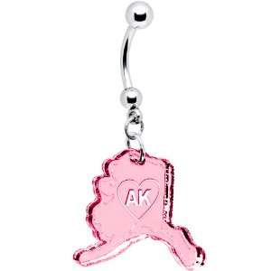 Pink State of Alaska Belly Ring Jewelry