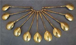Antique Imperial Russian Silver Gilt Spoons Set of 12