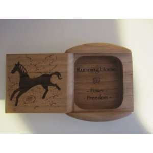 Cherry Running Horse engraved Wood Pill / Snuff box