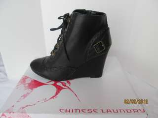 CHINESE LAUNDRY AWAKEN Women Black wedgel boots booties sz 7.5 M $119