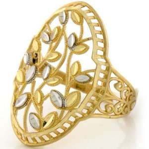 14K Solid Gold Two Tone Diamond Cut Leaf Tree Ring Jewelry