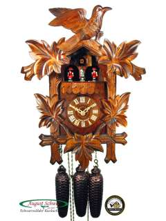 Black Forest Cuckoo Clock 8 Day Music Leaves & Bird NEW