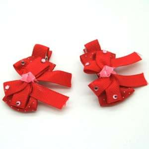 Red / Baby/ Toddler /Girl Bow Shaped Hair Clip (4125 3) Toys & Games