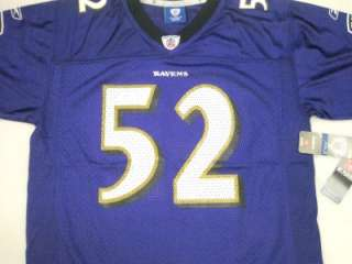 NFL Reebok Baltimore Ravens Ray Lewis Youth On Field Jersey Purple
