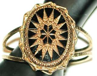 VINTAGE ART DECO CZECH BLACK GOLD MARCASITE ANTIQUE STAR BURST CLAMPER
