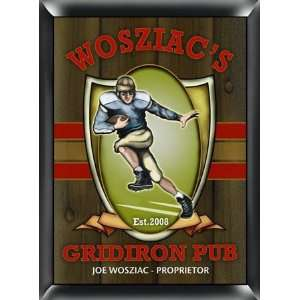 PERSONALIZED GRIDIRON FOOTBALL PUB BAR WOOD SIGN Kitchen