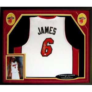 Lebron James Signed Jersey   6 Framed Miami Heat White OAI