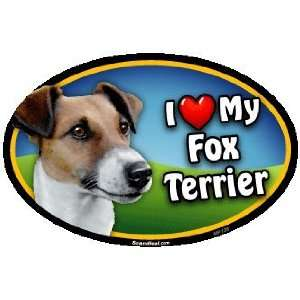 Oval Car Magnet   I Love My Fox Terrier