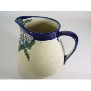 Polish Pottery Pitcher Blue Border wr07C np3