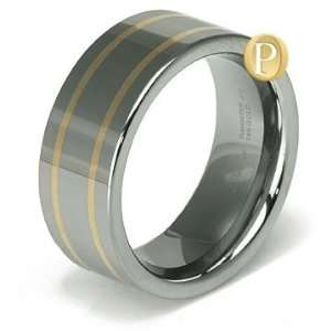 Two Tone 14K Yellow Gold Tungsten Carbide Wedding Band Ring Jewelry