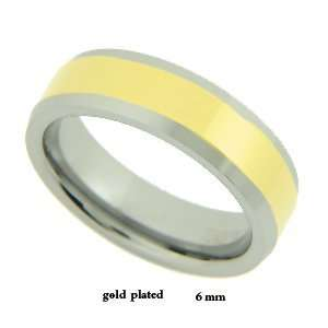 6MM Two Tone Gold Plated Tungsten Carbide Band  13 Jewelry