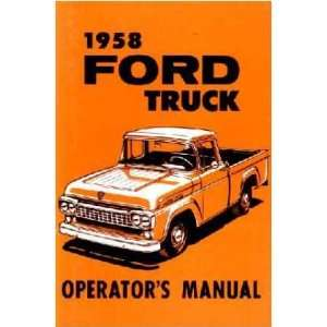 1958 FORD TRUCK Full Line Owners Manual User Guide Automotive