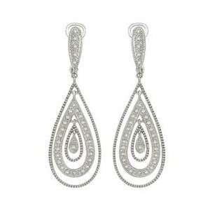 14K White Gold Round Diamond Earrings