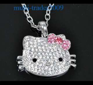 Hello Kitty High Quality Pink Bow Crystal Pendant Necklace Chain gift