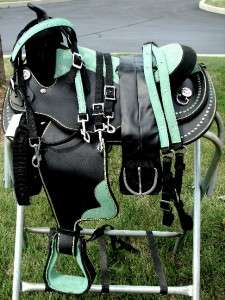 16 GREEN BLING BLACK WESTERN TRAIL HORSE SADDLE SHOW