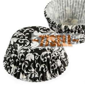 100 black and white flowers cupcake liners baking paper cup muffin